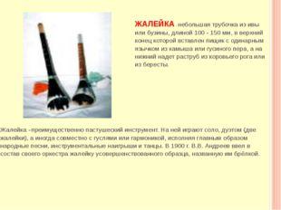 ЖАЛЕЙКА-небольшая трубочка из ивы или бузины, длиной 100 - 150 мм, в вер