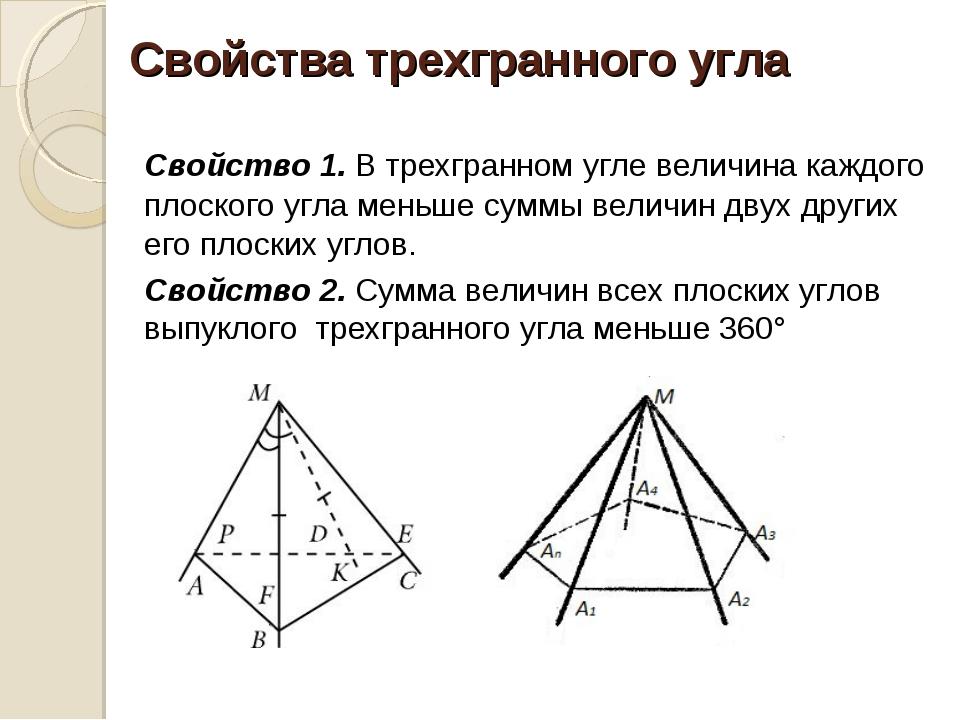 Свойства трехгранного угла Свойство 1. В трехгранном угле величина каждого п...