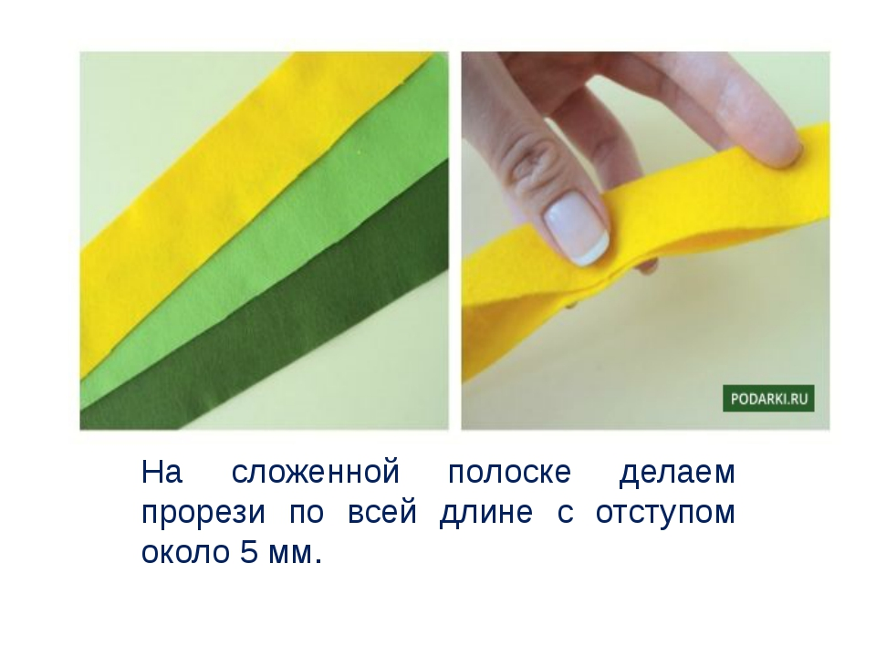 На сложенной полоске делаем прорези по всей длине с отступом около 5 мм.