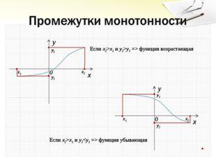 x2 x1 y1 y2 x2 x1 y1 y2 Если x2>x1 и y2 функция убывающая Если x2>x1 и y2>y1