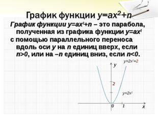 График функции y=ax2+n – это парабола, полученная из графика функции y=ax2 с