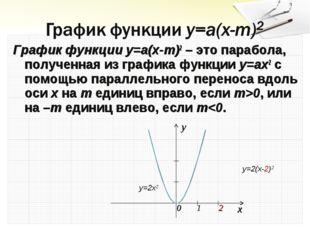График функции y=a(x-m)2 – это парабола, полученная из графика функции y=ax2