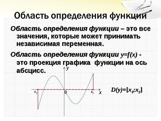 Область определения функции – это все значения, которые может принимать незав...