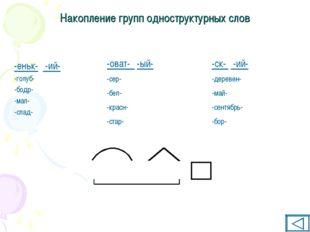 Накопление групп одноструктурных слов -еньк- -ий- -голуб- -бодр- -мал- -слад-