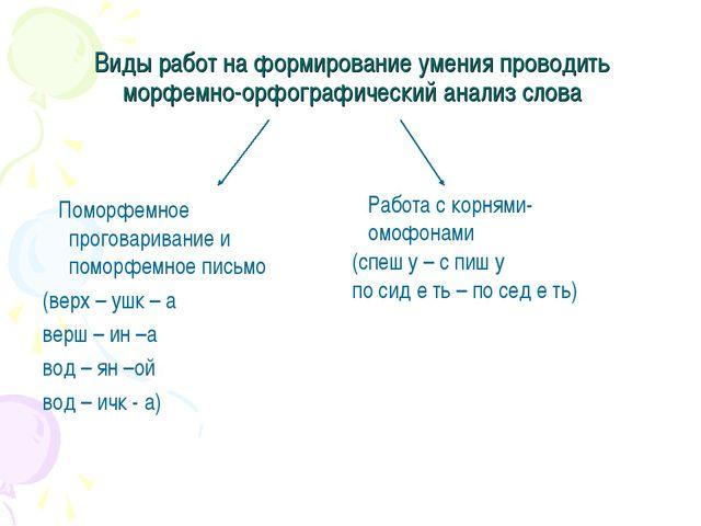 Виды работ на формирование умения проводить морфемно-орфографический анализ с...