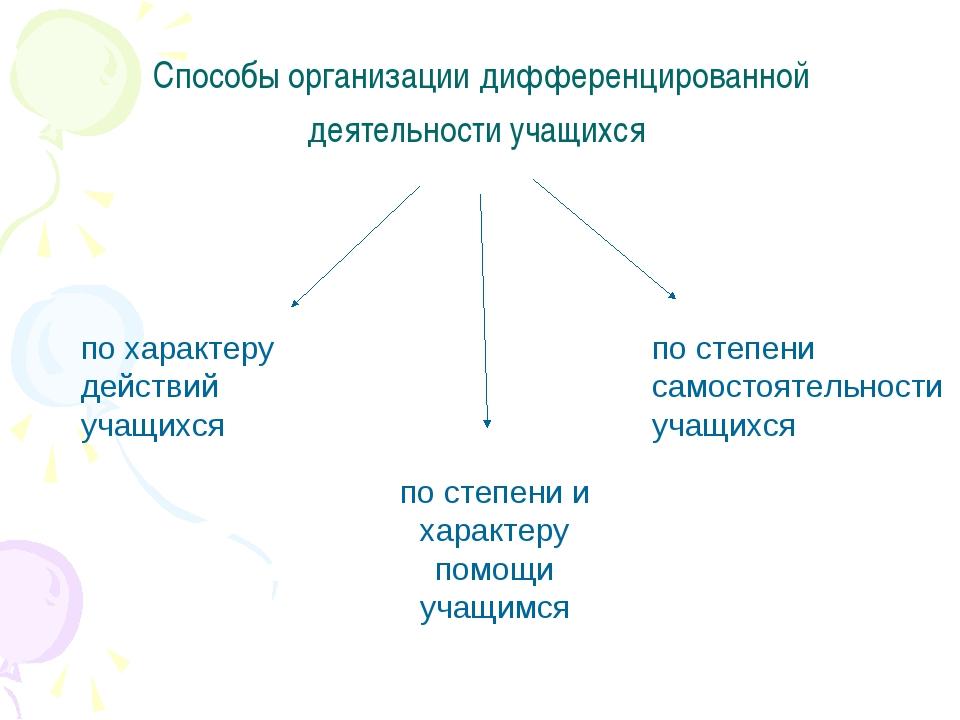 Способы организации дифференцированной деятельности учащихся по характеру дей...