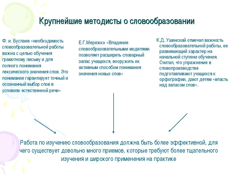 Крупнейшие методисты о словообразовании К.Д. Ушинский отмечал важность словоо...