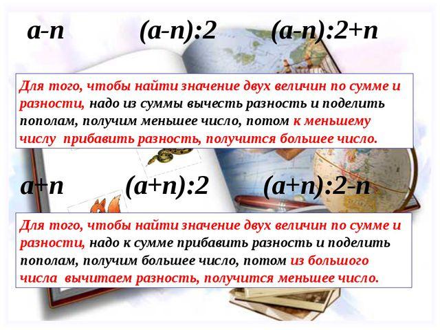 Для того, чтобы найти значение двух величин по сумме и разности, надо к сумме...