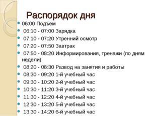 Распорядок дня 06:00 Подъем 06:10 - 07:00 Заpядка 07:10 - 07:20 Утpенний осмо