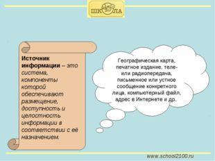 www.school2100.ru Источник информации – это система, компоненты которой обесп