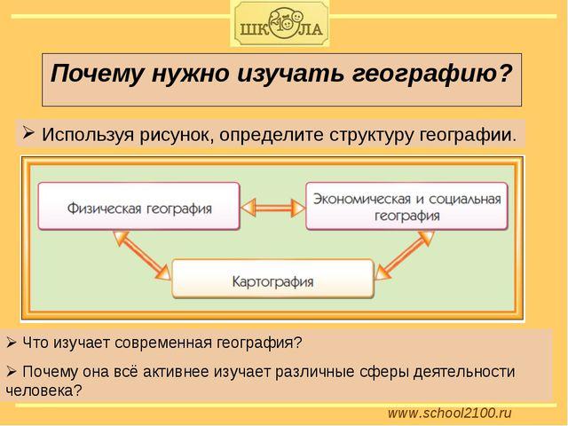 www.school2100.ru Почему нужно изучать географию? Используя рисунок, определи...