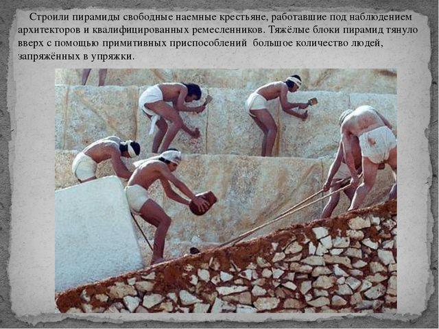 Строили пирамиды свободные наемные крестьяне, работавшие под наблюдением арх...