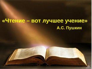 «Чтение – вот лучшее учение» А.С. Пушкин
