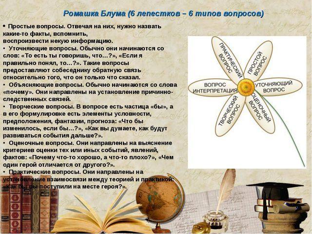 • Простые вопросы. Отвечая на них, нужно назвать какие-то факты, вспомнить, в...