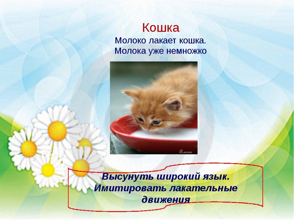 Кошка Молоко лакает кошка. Молока уже немножко Высунуть широкий язык. Имитиро...
