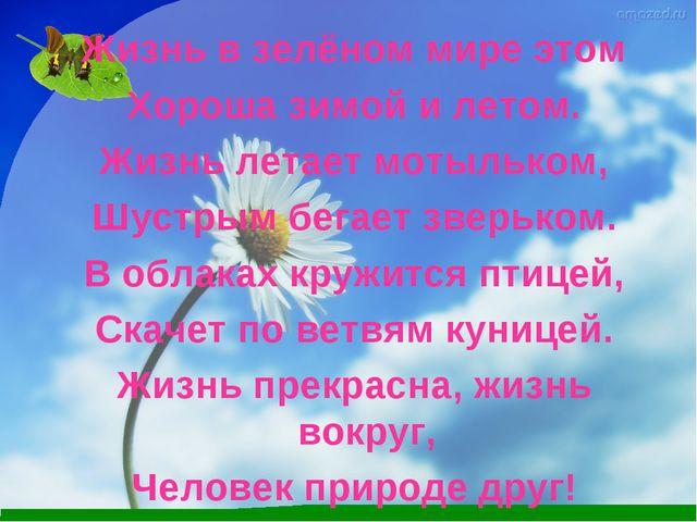Жизнь в зелёном мире этом Хороша зимой и летом. Жизнь летает мотыльком, Шустр...