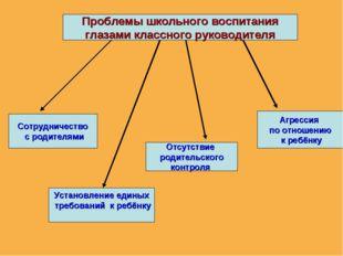 Проблемы школьного воспитания глазами классного руководителя Сотрудничество с