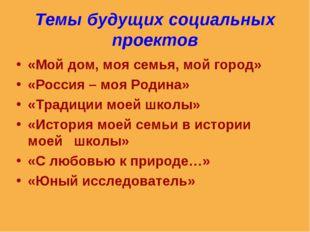 Темы будущих социальных проектов «Мой дом, моя семья, мой город» «Россия – мо