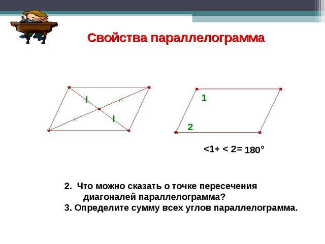 2. Что можно сказать о точке пересечения диагоналей параллелограмма? 3. Опред...