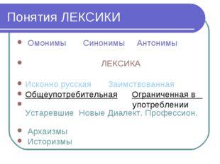 Понятия ЛЕКСИКИ Омонимы Синонимы Антонимы ЛЕКСИКА Исконно русская Заимствован