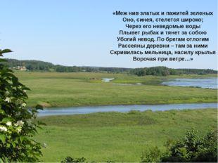 «Меж нив златых и пажитей зеленых Оно, синея, стелется широко; Через его неве