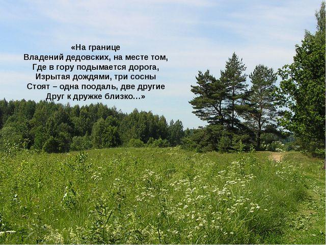 «На границе Владений дедовских, на месте том, Где в гору подымается дорога, И...