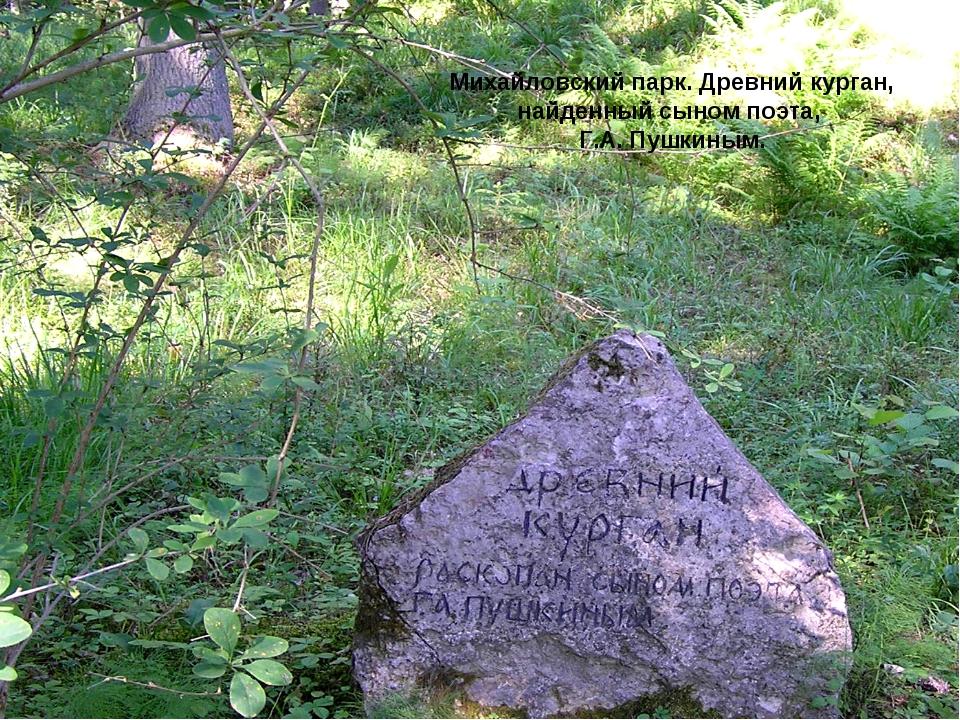 Михайловский парк. Древний курган, найденный сыном поэта, Г.А. Пушкиным.