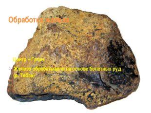 Обработка железа. Центр – Галич Железо обрабатывали на основе болотных руд (р