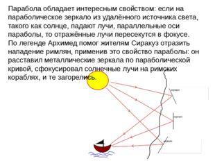 Парабола обладает интересным свойством: если на параболическое зеркало из уда