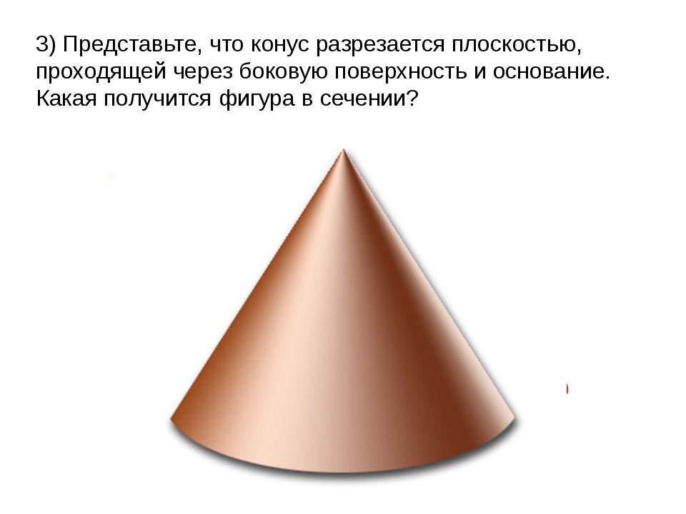 3) Представьте, что конус разрезается плоскостью, проходящей через боковую п...