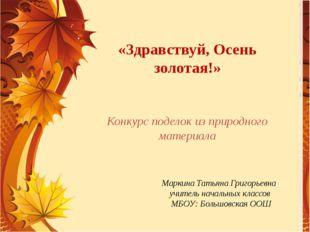 Маркина Татьяна Григорьевна учитель начальных классов МБОУ: Большовская ООШ «