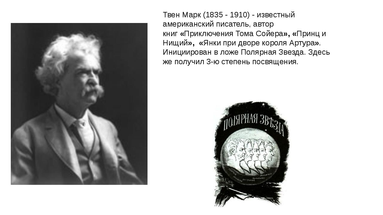 Твен Марк (1835 - 1910) - известный американский писатель, автор книг«Приклю...