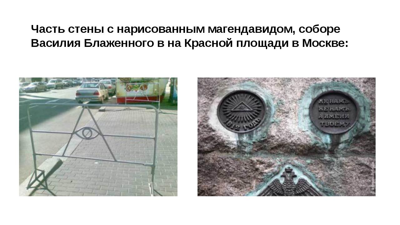 Часть стены с нарисованным магендавидом, соборе Василия Блаженного в на Красн...