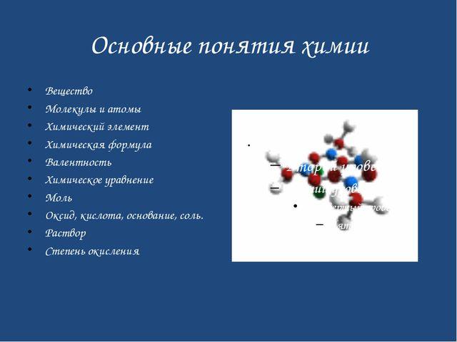 Основные понятия химии Вещество Молекулы и атомы Химический элемент Химическа...