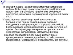 В Екатеринодаре находился атаман Черноморского войска, Войсковое правительств