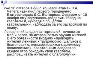 Уже 20 октября 1793 г. кошевой атаман З.А. Чепега назначил первого городничег