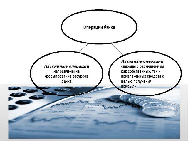 Операции банка Пассивные операции направлены на формирование ресурсов банка А...