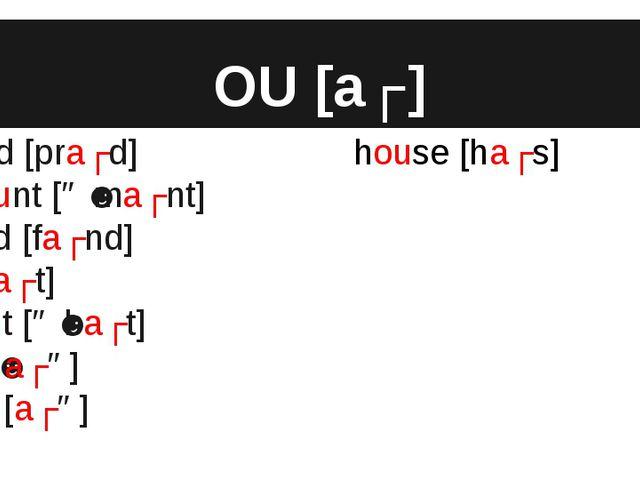 OU [aʊ] proud [praʊd] amount [əˈmaʊnt] found [faʊnd] out [aʊt] about [əˈbaʊt]...