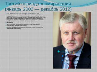 Третий период формирования (январь2002— декабрь 2012) Целью следующей рефор