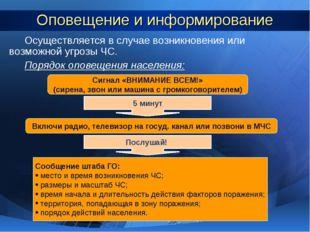Оповещение и информирование Осуществляется в случае возникновения или возможн
