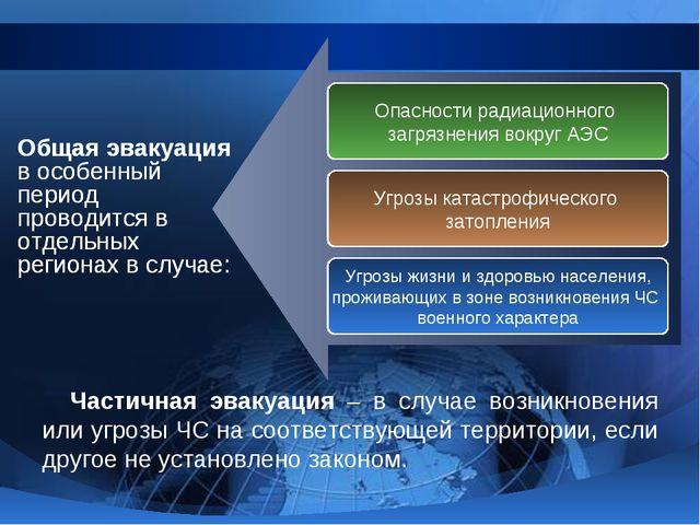 Общая эвакуация в особенный период проводится в отдельных регионах в случае:...
