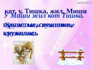 кот, у, Тишка, жил, Миши У Миши жил кот Тишка. пушистые, снежинки, кружились