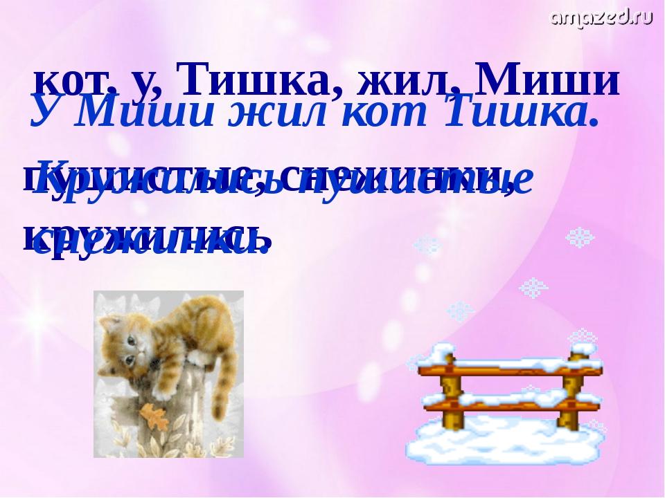 кот, у, Тишка, жил, Миши У Миши жил кот Тишка. пушистые, снежинки, кружились...
