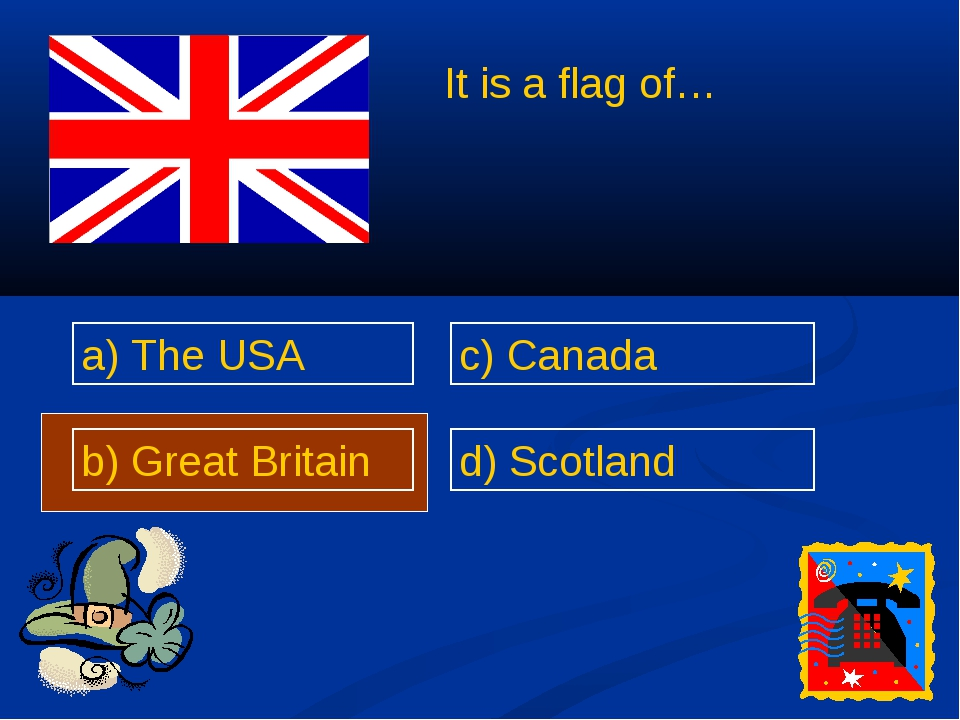 a) The USA b) Great Britain c) Canada d) Scotland It is a flag of…