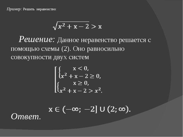 Пример: Решить неравенство: Решение: Данное неравенство решается с помощью с...