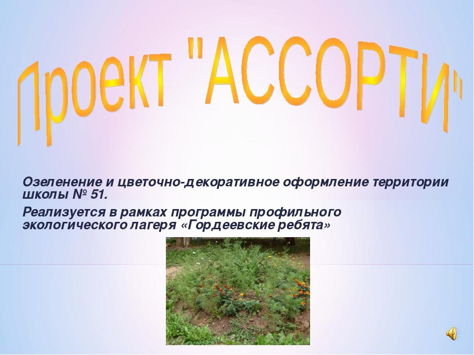 Озеленение и цветочно-декоративное оформление территории школы № 51. Реализуе...