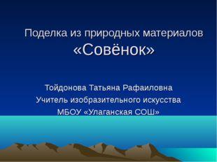 Поделка из природных материалов «Совёнок» Тойдонова Татьяна Рафаиловна Учител