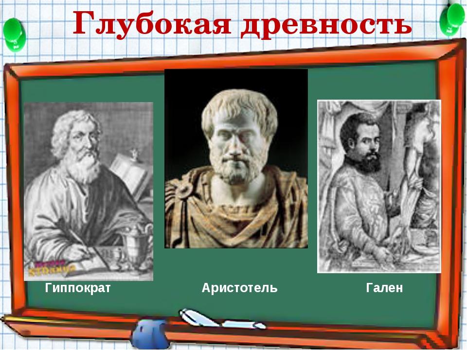 Гиппократ Гален Аристотель Глубокая древность