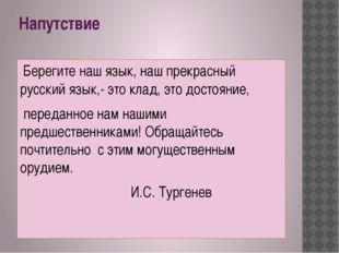 Напутствие Берегите наш язык, наш прекрасный русский язык,- это клад, это дос