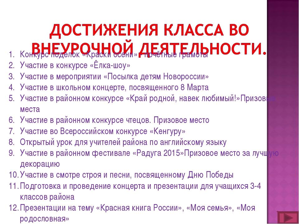 Конкурс поделок «Краски осени» - почётные грамоты Участие в конкурсе «Ёлка-шо...